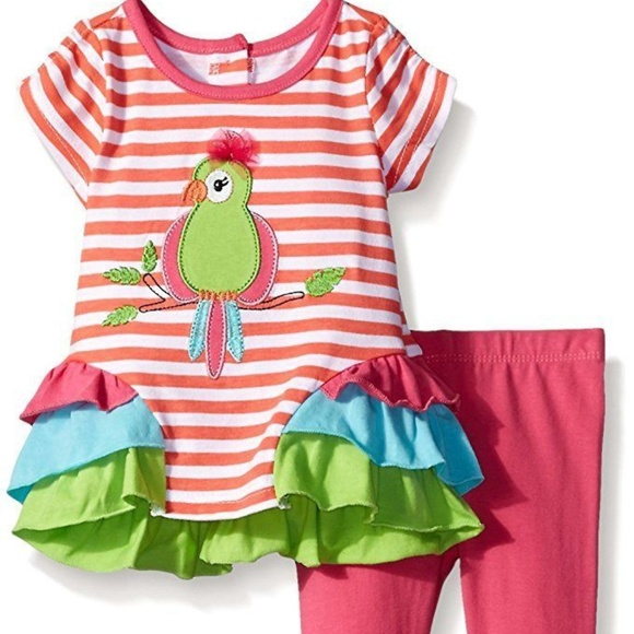 Nannette Other - Baby Girl Parrot Stripe Ruffle Top Legging Set NB